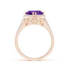 Toggle Trillion Amethyst Cocktail Ring with Diamond Accents