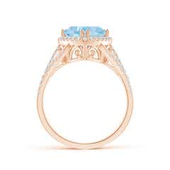 Toggle Trillion Aquamarine Cocktail Ring with Diamond Accents