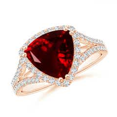 Trillion Garnet Cocktail Ring with Diamond Accents
