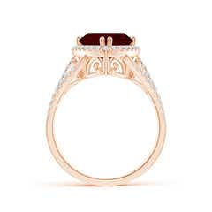 Toggle Trillion Garnet Cocktail Ring with Diamond Accents