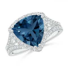 Trillion London Blue Topaz Cocktail Ring with Diamond Accents