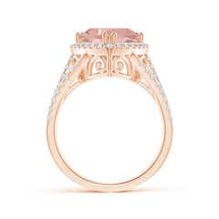 Toggle Trillion Morganite Cocktail Ring with Diamond Accents