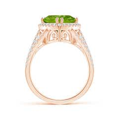 Toggle Trillion Peridot Cocktail Ring with Diamond Accents