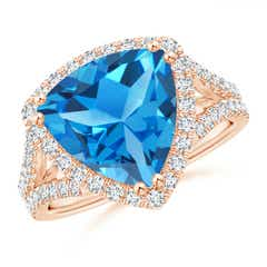 Trillion Swiss Blue Topaz Cocktail Ring with Diamond Accents