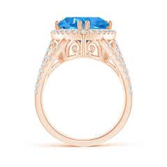 Toggle Trillion Swiss Blue Topaz Cocktail Ring with Diamond Accents