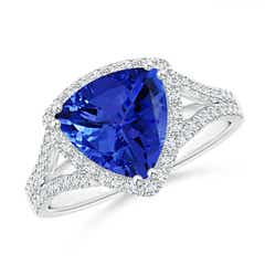 Trillion Tanzanite Cocktail Ring with Diamond Accents