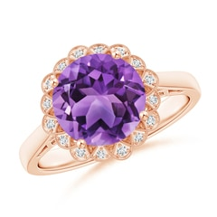 Amethyst Scalloped Halo Ring