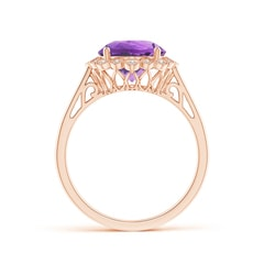 Toggle Amethyst Scalloped Halo Ring