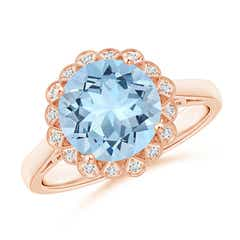 Aquamarine Scalloped Halo Ring