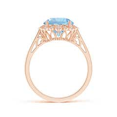 Toggle Aquamarine Scalloped Halo Ring