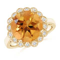 Citrine Scalloped Halo Ring