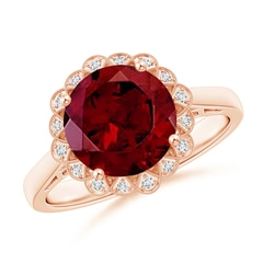 Vintage Style Garnet Cocktail Ring with Diamond Halo