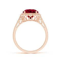 Toggle Garnet Scalloped Halo Ring
