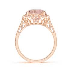 Toggle Round Morganite Scalloped Halo Ring