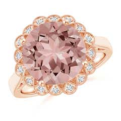 Morganite Scalloped Halo Ring