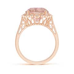 Toggle Morganite Scalloped Halo Ring