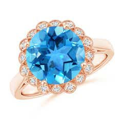Swiss Blue Topaz Scalloped Halo Ring