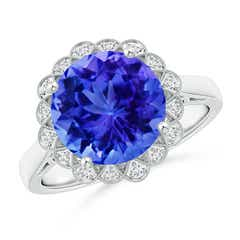 Vintage Style Tanzanite Cocktail Ring with Diamond Halo