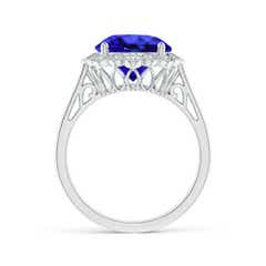 Toggle Tanzanite Scalloped Halo Ring
