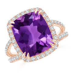 Vintage Style Amethyst Split Shank Ring with Diamond Halo