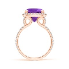 Toggle Vintage Style Amethyst Split Shank Ring with Diamond Halo