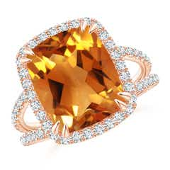 Vintage Style Citrine Split Shank Ring with Diamond Halo