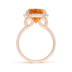Toggle Vintage Style Citrine Split Shank Ring with Diamond Halo