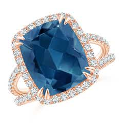 Angara London Blue Topaz Triple Shank Ring with Alternating Halo