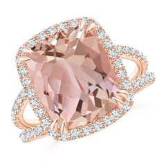 Vintage Style Morganite Split Shank Ring with Diamond Halo