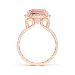 Toggle Vintage Style Morganite Split Shank Ring with Diamond Halo