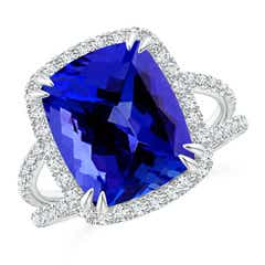 Vintage Style Tanzanite Split Shank Ring with Diamond Halo