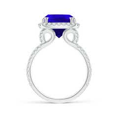 Toggle Vintage Style Tanzanite Split Shank Ring with Diamond Halo