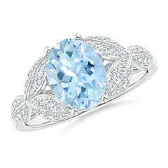 Aquamarine and Diamond Trillium Petal Flower Ring