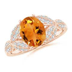 Citrine and Diamond Trillium Petal Flower Ring