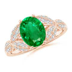 Emerald and Diamond Trillium Petal Flower Ring