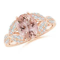 Morganite and Diamond Trillium Petal Flower Ring