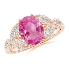 Pink Sapphire and Diamond Trillium Petal Flower Ring