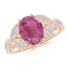 Pink Tourmaline and Diamond Trillium Petal Flower Ring