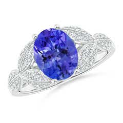 Angara Classic Oval Tanzanite Solitaire Ring With Petal Motifs in Rose Gold 51DnGo4tl