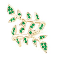 Pave Set Emerald Olive Leaf Vine Ring