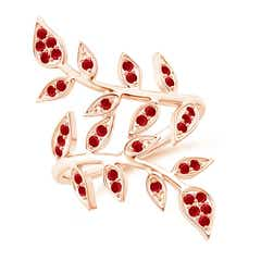 Pave Set Ruby Olive Leaf Vine Ring