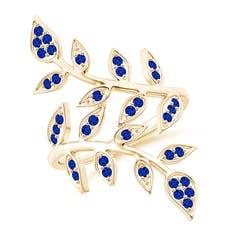 Pave Set Blue Sapphire Olive Leaf Vine Ring