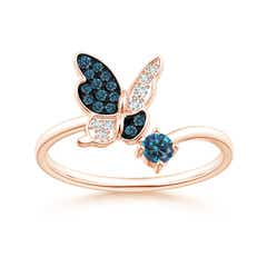 Pave Set Enhanced Blue Diamond Butterfly Bypass Ring