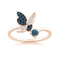 Enhanced Blue Diamond Butterfly Bypass Ring