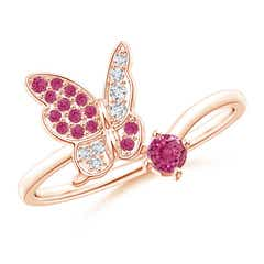 Pink Sapphire and Diamond Butterfly Bypass Ring