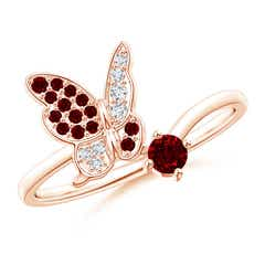 Ruby and Diamond Butterfly Bypass Ring