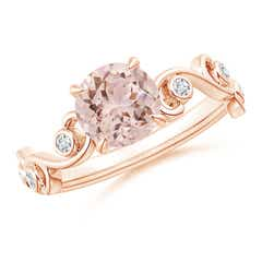 Morganite and Diamond Ivy Scroll Ring