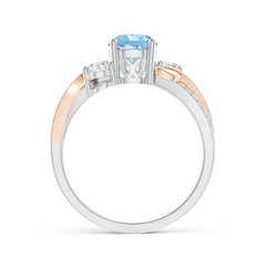 Toggle Aquamarine and Diamond Twisted Vine Ring