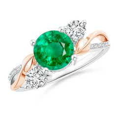 Emerald and Diamond Twisted Vine Ring