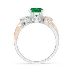 Toggle Emerald and Diamond Twisted Vine Ring
